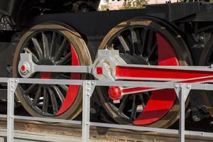Very old coal locomotive in the town of Arcos de Jalon, Soria province, Castilla y Leon, Spain photo