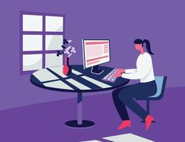 Girl working in pc illustration concept vector