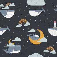 Seamless pattern of whales floating in dark starry sky with clouds vector