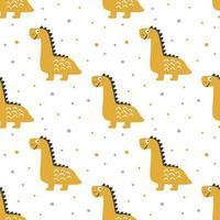 Cute yellow dinosaur seamless pattern vector