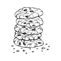 Round oatmeal cookies. Homemade biscuits. Hand drawn illustration. vector
