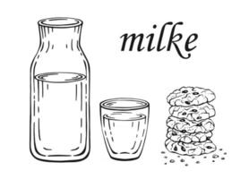 Bottle and glass of milk and oatmeal cookies. Hand drawn illustration. vector