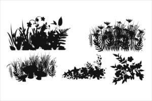 flower silhouettes set vector