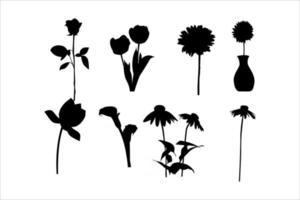 flower silhouettes vector set