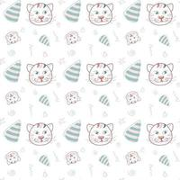 Seamless pattern holiday at the cat vector