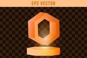 Set 3d shape orange shiny glow vector
