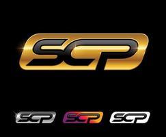 Golden SCP monogram logo vector sign