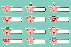 Set of cute pig sticker labels name or tags collection vector