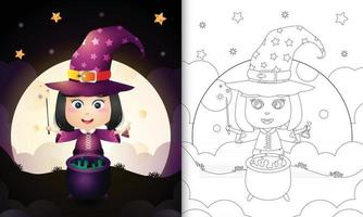 coloring book with a cute witch halloween vector