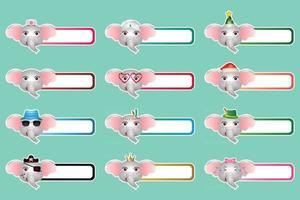 Set of cute elephant sticker labels name or tags collection vector