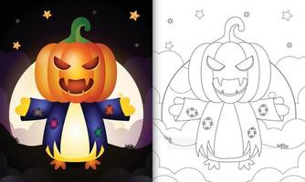 coloring book with a cute chick using costume scarecrow halloween vector