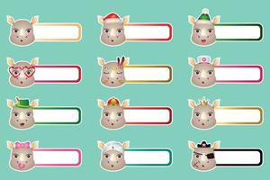 Set of cute rhino sticker labels name or tags collection vector