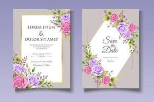 Elegant floral wedding invitation card template vector