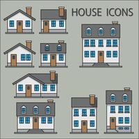 Collection of simplicity suburb houses vector