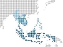 círculo dot sudeste asiático y países cercanos mapa vector