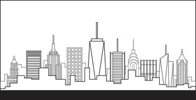 New York City highrise skyline simplicity outline flat design. vector