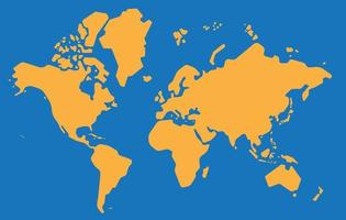 Simplicity style outline vector world map on blue background.