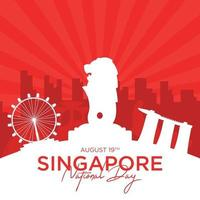 vector illustration August 9th Singapore's independence day