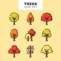Autumn Tree Icon Set vector