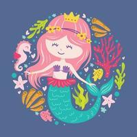 Mermaid Doodle Cartoon vector