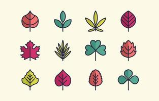 Colorful Leaves Flat Icon Set vector