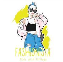 estilo fashionista con actitud vector