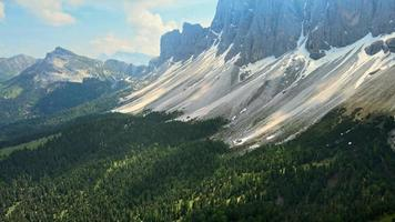 Aerial footage over the Odle Mountains in South Tyrol Italy video