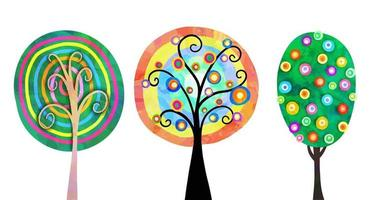 Hand Drawn Doodle Woodland Trees vector