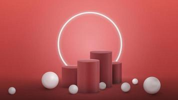 Winners cylindrical pedestals with large white realistic sphere around vector