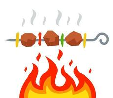 fry a kebab over an open fire. flat vector illustration.