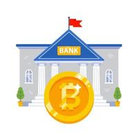 bank building with a large gold bitcoin coin. vector