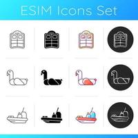 Summer vacations icons set vector
