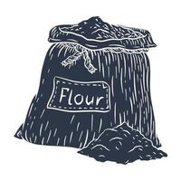 silueta de saco de lona de harina vector
