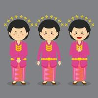Riau Indonesia Character with Various Expression vector
