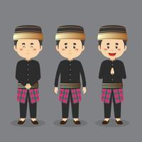 personaje de sulawesi del sur con varias expresiones. vector
