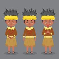 Papua Indonesian Character with Various Expression vector