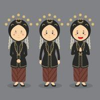 Central Java Character with Various Expression vector