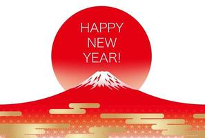 New Years Greeting Card Template With Red Mt. Fuji And The Rising Sun. vector