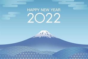 The Year 2022 New Years Card Template With Blue Sky And Mt. Fuji. vector