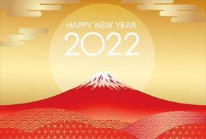 2022 New Years Card Template With Red Mt. Fuji And The Rising Sun. vector