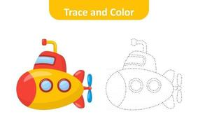 Trace and color for kids, submarine vector