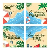 Hand drawn summer posts collection Vector