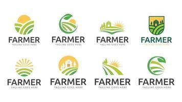 farmer ecology nature logo vector template