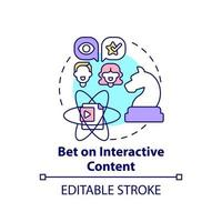 Bet on interactive content concept icon vector