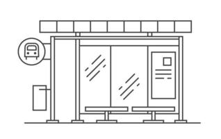 Bus stop vector line art illustration. Exit from the subway.