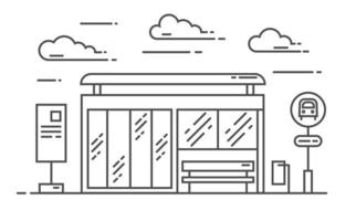 Bus stop vector line art illustration. Exit from the subway. Vector