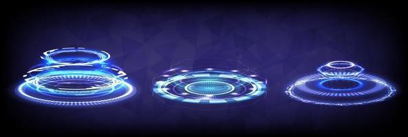 portal de hologramas de ciencia futurista. colección hud realidad virtual vector