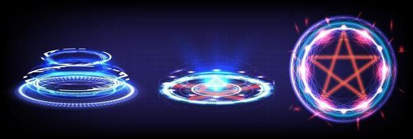 portal de hologramas de ciencia futurista hud. Stargate de realidad virtual vector
