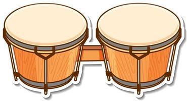 pegatina bongos tambor instrumento musical vector