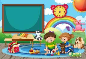Kindergarten school scene with two children playing toys in the room vector
